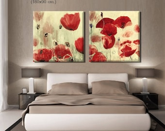 Floral Wall Decor, Abstract Flowers, Canvas Abstract Art, Floral Art Set, Panel Wall Art, Abstract Landscape, Floral Artwork Set of 2
