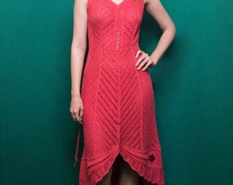 Exclusive Knitted Coral Evening Dress for Women - ButterFly, HandMade, Hand-knitted, Ready to Ship, 100% handmade.