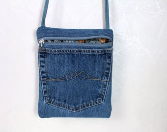 Blue bag Small crossbody bag Blue jeans pouch Crossbody purse Boho Crossbody pouch Crossbody wallet Summer gift for women Gift for daughter