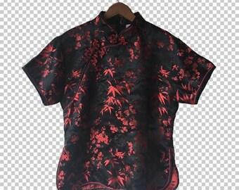 90s Red Black Cheongsam // 90s Floral Asian Shirt // Satin Mandarin Top 90s Aesthetic Large/XL