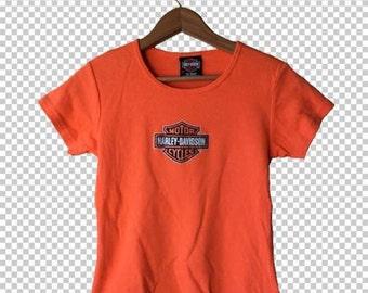 Harley Davidson Glitter Cropped Baby Tee // XL Biker Crop Top // Harley Orange Baby Tee Rocky Mountain, Colorado