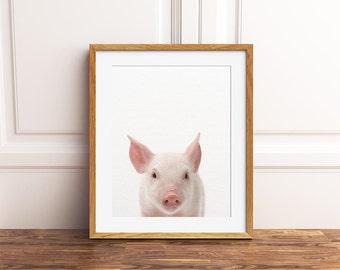 Nursery Art, Pig Print, Nursery Animal Wall Art, Cute Baby Pig, Farm Animal Art, Little Piglet Photo, Nursery Decor, Kids Room Printable Art
