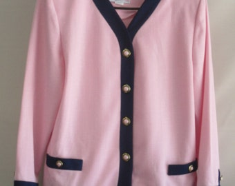 Pablo Collection Pink Suit Jacket w/Navy Blue Trim, Beautiful Buttons, Size 18, from the 50's