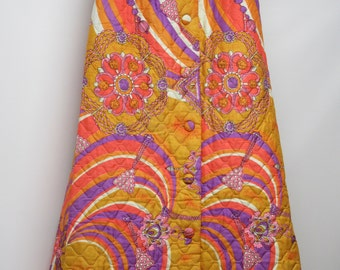 Feiner Fashions '70 Bright Multi-Colored Psychedelic Designs on Quilted Maxi Skirt