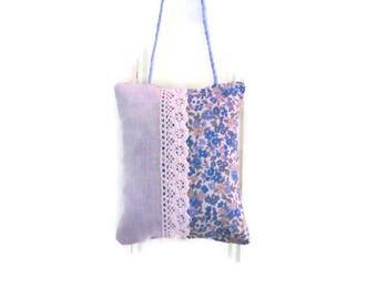 Lavender, blue liberty, unbleached canvas, lace sachet