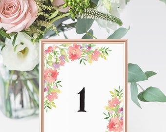 Table Numbers | Wedding Tables, Summer Wedding, Floral Bouquet Table, Bouquet Numbers, Wedding Seating, Floral Seating, Wedding Place Cards