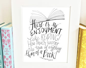 Jane Austen Quote Print - Pride and Prejudice - Quote Print -handlettered -QPP