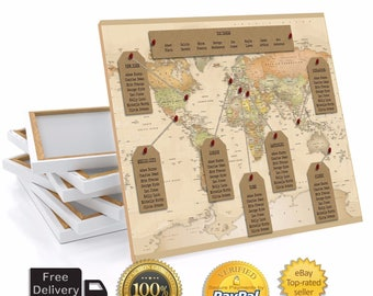 Personalised Travel World Map Wedding Table Plan / Seating Plan Large Print OR Canvas A1 A2 A3
