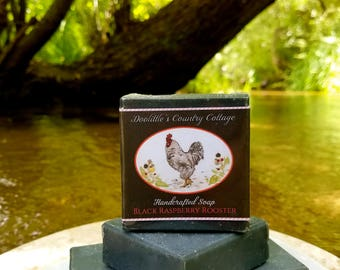 """Soap - """"Black Raspberry Rooster"""" - Animal Soap, Black Raspberry Soap, Gift Soap, Handmade Soap, Handcrafted Soap, Activated Charcoal"""