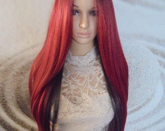 Ombre dark roots to Red brown and black human hair blend lace front wig