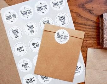 "Sweet Scallop Thank You Sticker Seals // For Envelope Kraft bag Favor Box Mason Jar //  Thanks Merci // 1.5"" Round // White // Wedding"