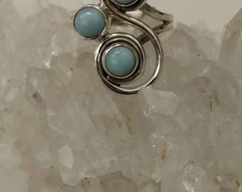 Three Stone Larimar Ring Size 6 1/4