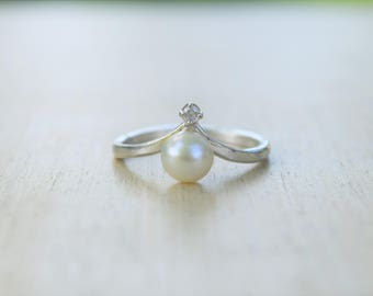 Pearl Ring, Pearl CZ Ring, Pearl Diamond Ring, Natural Pearl Ring, Fresh Water Pearl, Pearl Jewelry, Real Pearl Ring, June Birthstone