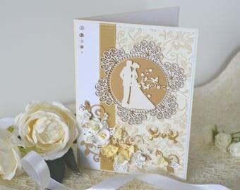 Elegant wedding card, Wedding money card, Wedding cards, Bride and groom card, Love card, Mr and Mrs card, Wedding congratulations card