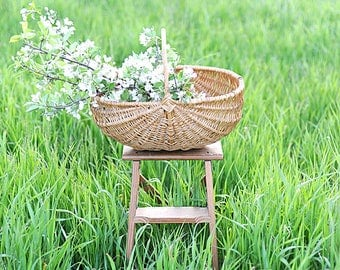 English Split-Oak Harvest Basket