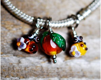 Ladybug red apple charms for pandora bracelet set beads wedding bouquet lampwork ladybird for necklace Fruit Charm red yellow color Jewelry
