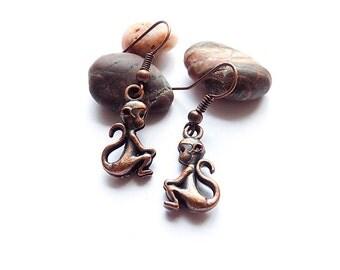 copper earrings monkey small Earrings metal earrings Children earrings animals earrings Teen girl earrings African earrings child earrings