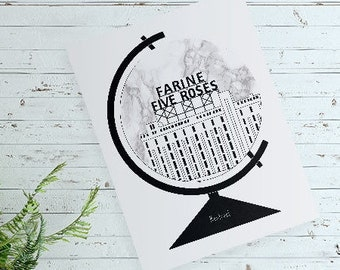 Greeting Card, Wishcard 8.5x5.5'' Farine Five Roses Illustration, Montréal. Globe, Minimalist, Graphic Design