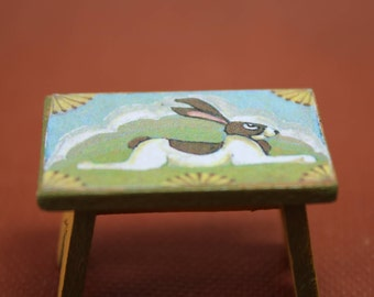 Dollhouse Miniature Painted Footstool with Decoupaged Folk Art Rabbit Signed RMG (1/12 Scale)