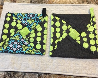 Potholders, trivets, quilted kitchen decor, lime green, black, turquoise