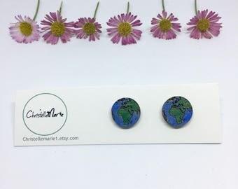 Wooden Earth, Globe Earrings