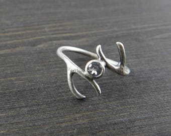 Antler ring Nature ring White topaz ring Silversmith jewelry Unique gift Gift from Norway One of a kind December birthstone