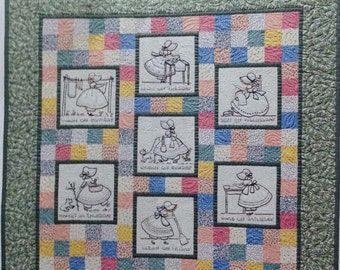 Working girls embroidered quilt, day of the week quilt, daily chores quilt, Jean Boyd quilt design, pastel quilt, nostalgic quilt,