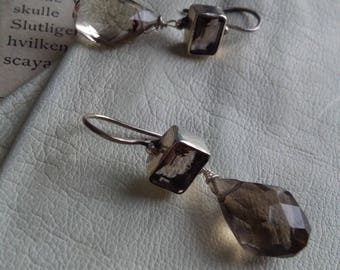 Smokey quartz sterling silver drop earrings, hand made silver earrings, faceted smokey quartz drop dangle earrings