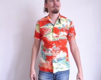 Desmond Shirt 70s 80s shirt Vintage Hawaii shirt Novelty print Shirt Palms Short sleeve Holidays Resort shirt medium size
