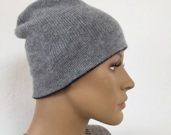Cashmere reversible hat / cashmere double faced reversible has