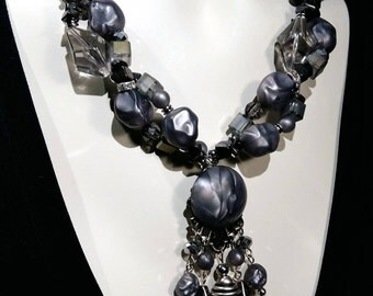 Big and bold necklace, crystal, and glass beads, hematite, Wow factor, Statement choker, Eye catcher