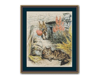 Peter & Benjamin See the Cat Cross Stitch Pattern, Beatrix Potter, Instant Download Cross Stitch Chart   (BP031)