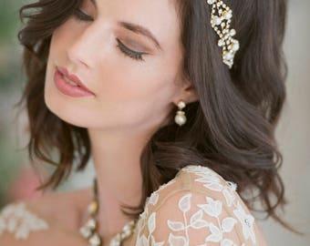 Bridal Hairband - Double Freshwater Pearl &  Swarovski Crystal Hair Adornment - Rhodium, Yellow Gold or Rose Gold