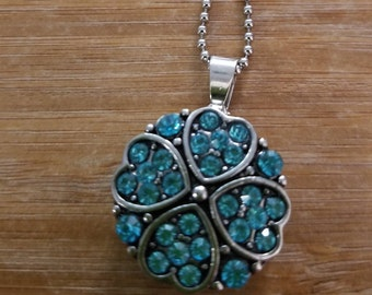 Teal heart flower charm necklace