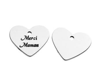 "5 pendants engraved ""Thank you MOM"" heart stainless steel 1.8 cm"