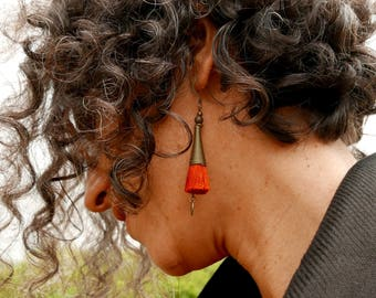 Boho earrings Tassel, Girlfriend gift, Long fringe earrings, Everyday lightweight earrings, Valentine gift for her, Dangle tribal earrings