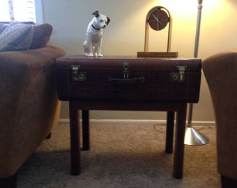 """SUITCASE TABLE:  Real """"fake"""" alligator skin suitcase re-purposed  end table/ night stand / display case."""