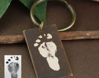 Actual Foot Print Keychain, Baby Footprint Keychain, Gift for Dad, Dog Tag Keychain, Fathers Day Gift,  Real Footprints Gift