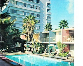 50s Lafayette Hotel Long Beach CA Postcard Pool Scene Mid Century California Hotel Travel Souvenir Unposted