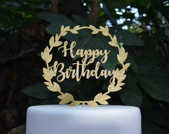 Wreath Happy Birthday Cake Topper - Assorted Colours