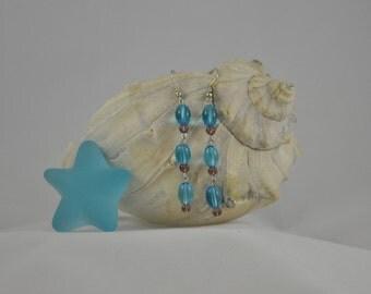 Blue and purple earrings, Dangle earrings, Silver earrings, Silver jewelry