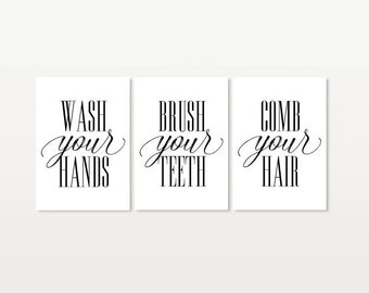 Bathroom Signs Brush Your Teeth comb your hair | etsy