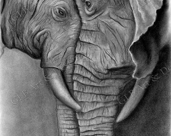 Elephant gifts, elephant decor, charcoal art, elephant print, elephant drawing, elephant art, elephant nursery, elephant baby shower, prints