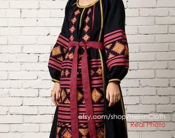 Maxi Dress Bohemian Style Vyshyvanka Ukrainian Embroidered Long Dress in Folk Style. Ukrainian dress, Oversize Dress Mexican Free shipping