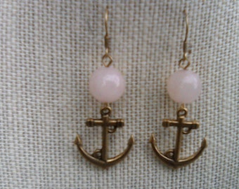 Gold Anchor Earrings with Pink Czech Beads