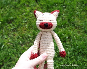 Amineko kat, haak de kat, amigurumi haak speelgoed haken, haak knuffeldier, gehaakte dieren, gehaakte knuffel, Siamese kat, zacht stuk speelgoed