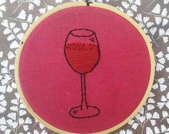Wine Hand Embroidery Hoop- Wall Art (4 inch)- *Only One Available!* Original/Ready to Ship
