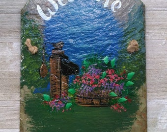 Yard Art Primitive Hand Painted Outdoor Recycled Roof Welcome Slate Antique Water pump with Flowers(Personalized)