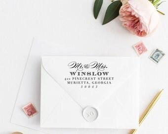 Custom Return Address Stamp, Self Ink Return Address Stamp, Personalized Address Stamp, Calligraphy Address Stamp Return Address Stamp No49