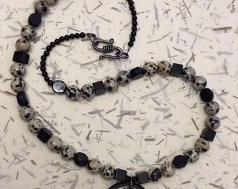 Black Caiman Necklace / Men's Necklace / Beaded Necklace / Gemstone Necklace / Tagua Necklace / OOAK Necklace / Handmade Necklace